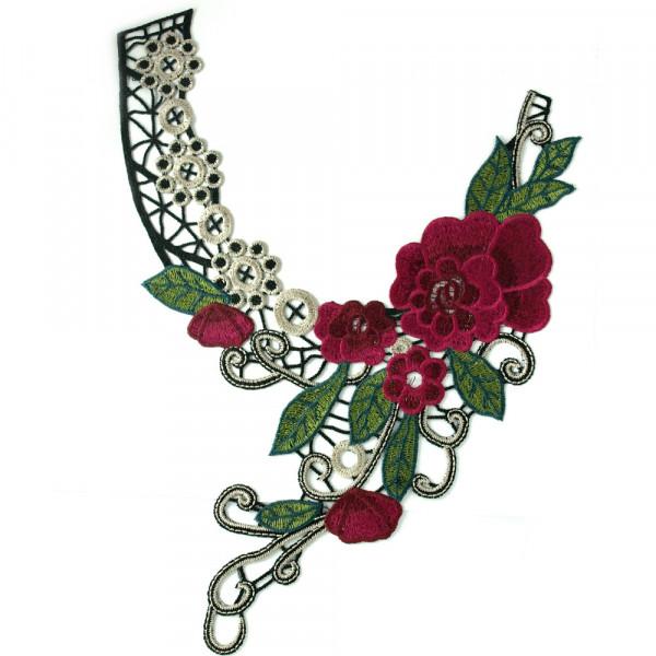 Stickerei Kragen Magenta Blüten Applikation kaufen