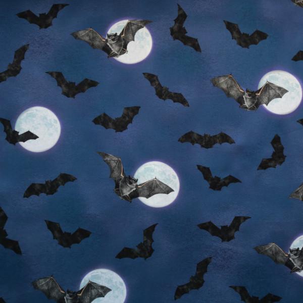 """Baumwollstoff """"Darkest Sky"""" Fledermaus Mond Blau"""