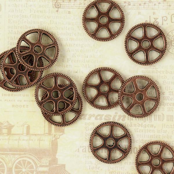 10 Steampunk Zahnräder IV Kupfer