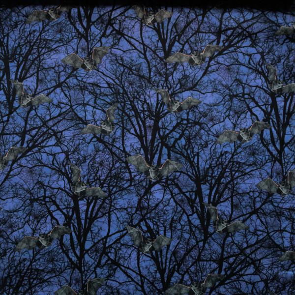 "Baumwollstoff ""Darkest Sky"" Fledermaus Wald Blau"