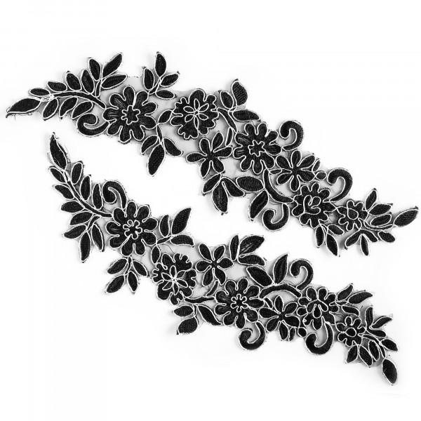 Applikation Schwarz Silber Paar