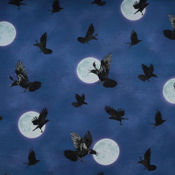 """Baumwollstoff """"Darkest Sky"""" Raben Mond Blau"""