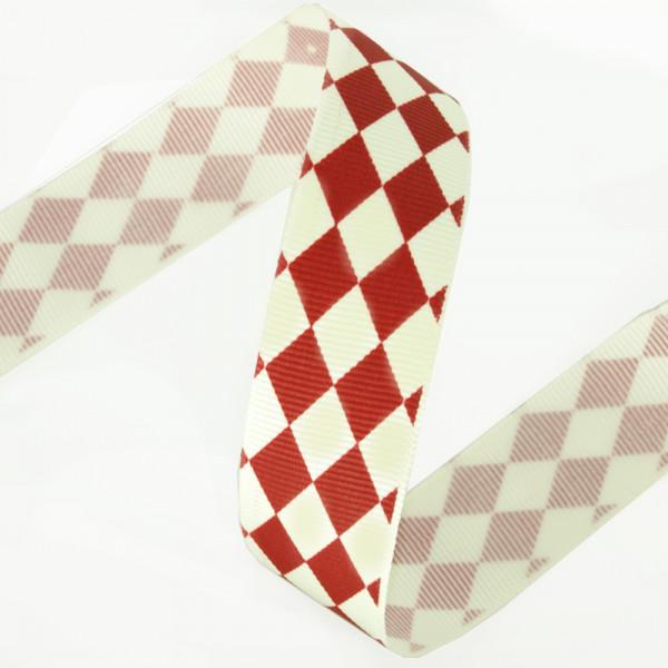 Rauten kariert Creme Rot ripsband 25mm kaufen basteln material