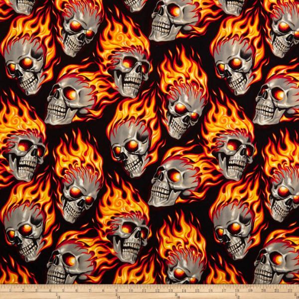 Baumwollstoff Totenköpfe Feuer