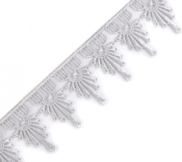 Spitzenborte 4cm breit Grau