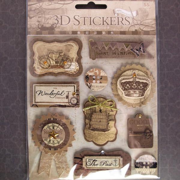 "3D Stickerbogen Aufkleber Vintage ""Cage"""