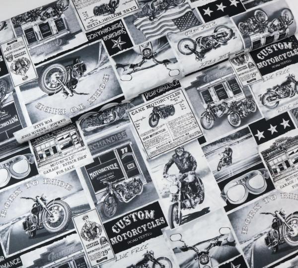 Baumwollstoff Retro Bikes