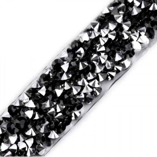 Glitzerborte zum aufbügeln Schwarz/Silber
