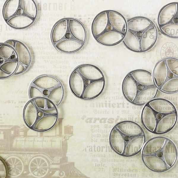 10 Steampunk Zahnräder VIII Silber