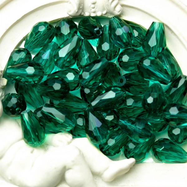 Perlen Tropfen kaufen tannengrün smaragd  glas kristall facettiert 8mm 11mm
