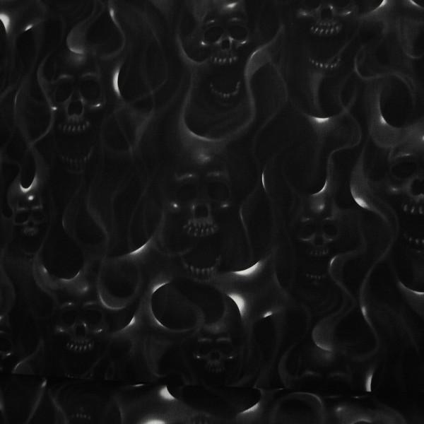 Baumwollstoff Skullfire Schwarz