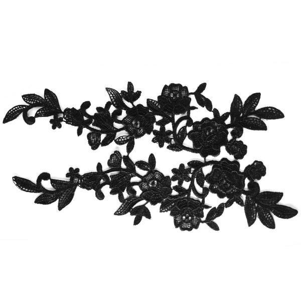 Rosenapplikation schwarz Spitze Nähen