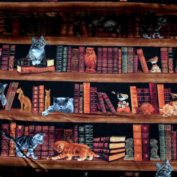 Baumwollstoff Bücher Katzen