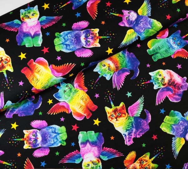 Baumwollstoff Regenbogen Kitties Katzen