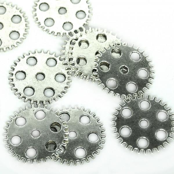 10 Steampunk Zahnräder XII Silberfarben