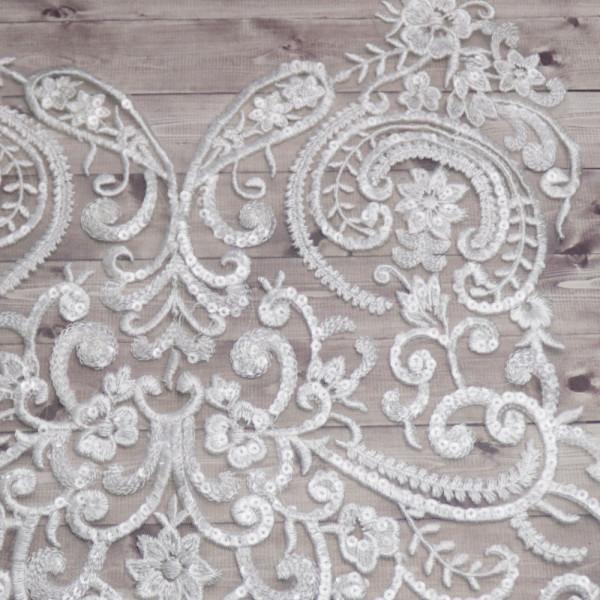 Spitzenapplikation Pailletten Schneeweiß Hochzeit