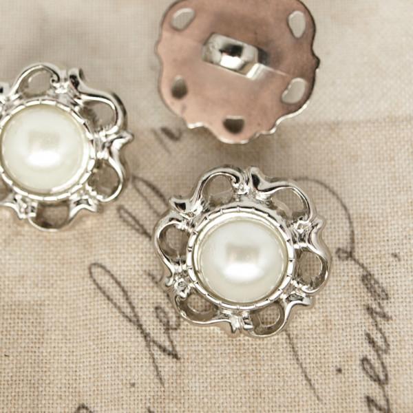 Knopf rund silber kostüm hochzeit perle weiß material schneider kaufen
