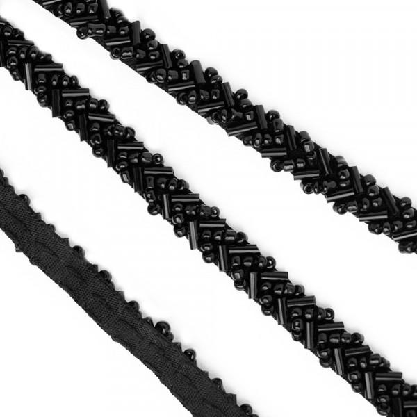 Perlenborte Glas Stickerei 7mm schwarz