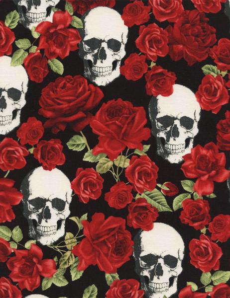 Patchworkstoff Skulls & Roses