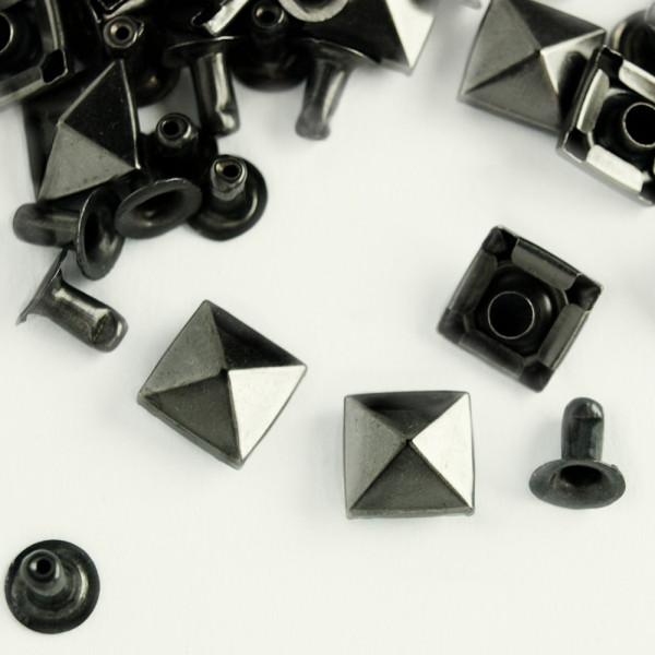 Hohlnieten pyramidennieten 9mm gunmetal schwar geschwärzt kaufen