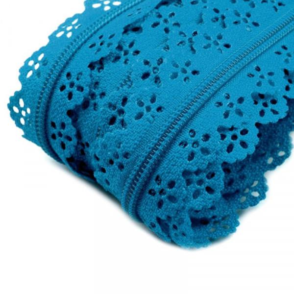 Reißverschluss Spitze Meterware Blau kaufen nähen material
