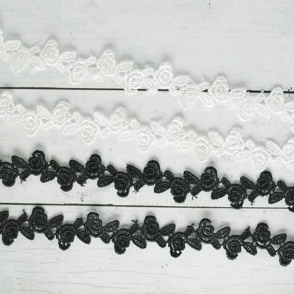Spitze Borte 1cm Rosen schwarz / weiß