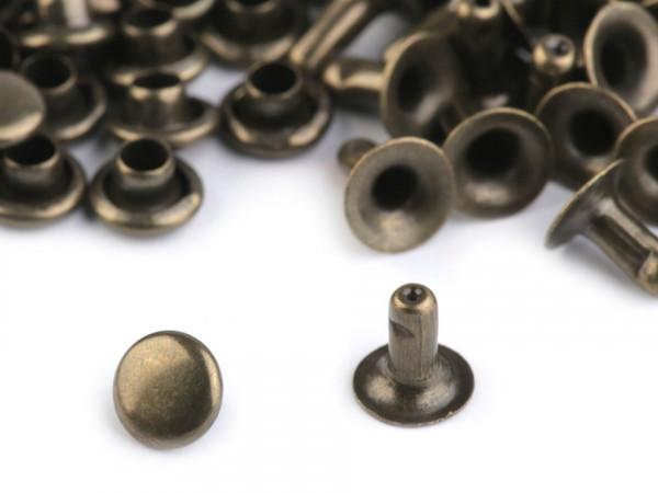 50 Hohlnieten Nieten 5mm Altmessing