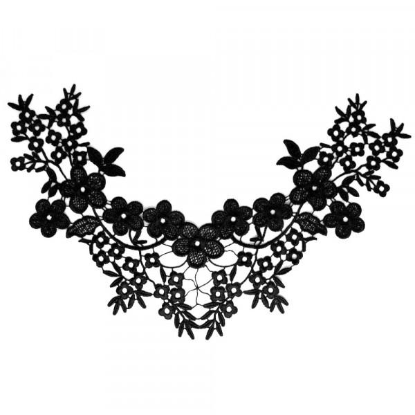 Spitzenkragen Schwarz Blüten