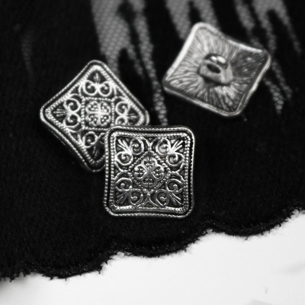 """Knopf Metall """"Antique Square"""" 19mm si"""