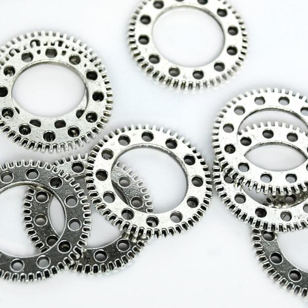 10 Steampunk Zahnräder V Silberfarben